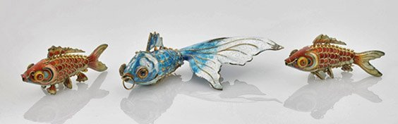 Three Chinese Enameled Silver Fish Toggles