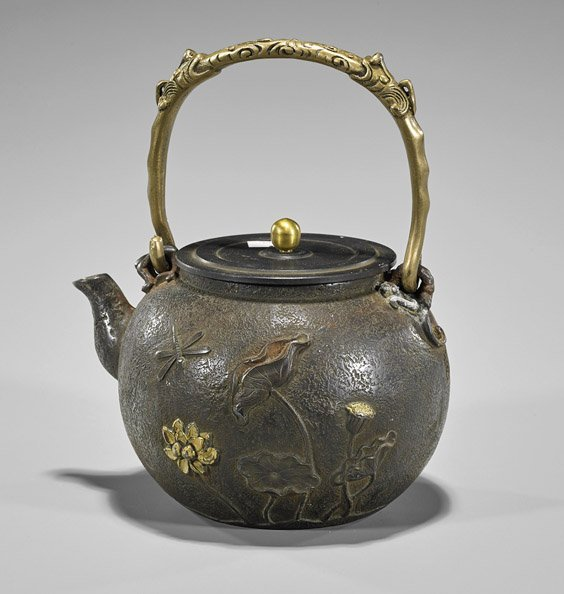 Chinese Parcel-Gilt Bronze Teapot