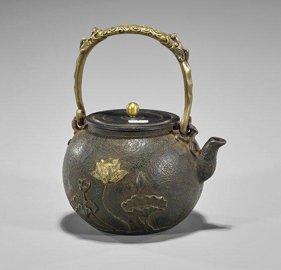 Chinese Parcel-Gilt Bronze Teapot - 2