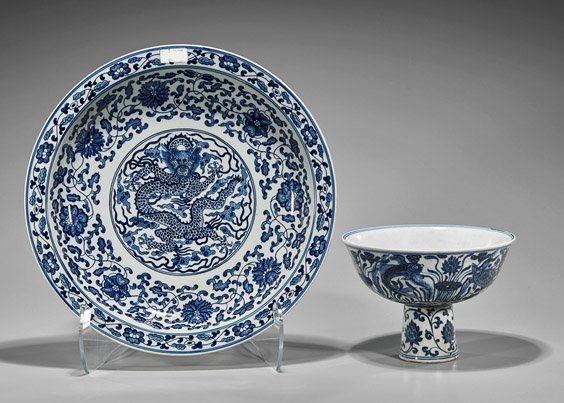 Two Large Chinese Porcelains: Stem Bowl & Charger
