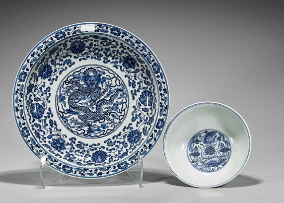 Two Large Chinese Porcelains: Stem Bowl & Charger - 2