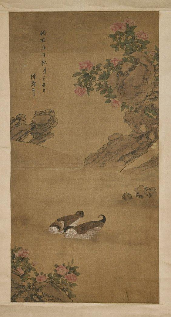 Two Chinese Paper Scrolls: Horsemen & Ducks - 3