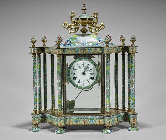 Chinese Cloisonne Enamel Mantel Clock