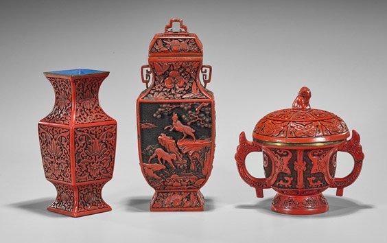 Three Chinese Cinnabar Like Items