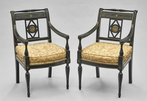 Pair Chinese Empire-Style Black & Gilt Armchairs