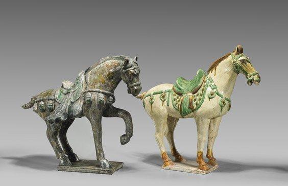 Two Tang-Style Pottery Horses