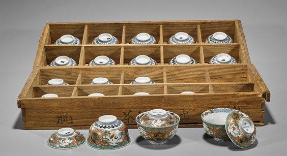 Twenty Japanese Imari Covered Bowls