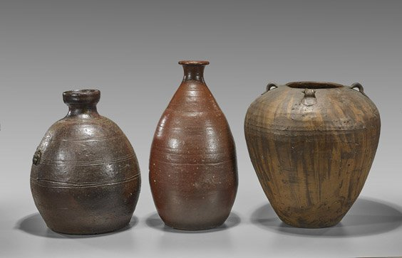 Three Antique Japanese Vessels: Pottery & Stoneware