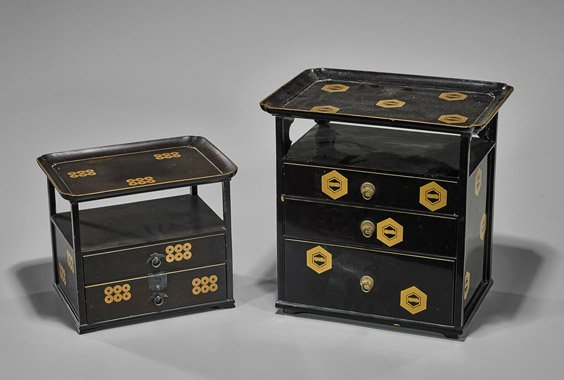 Two Antique Japanese Black Lacquer Cabinets