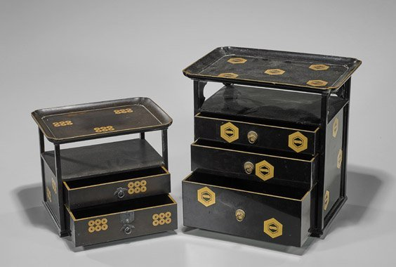 Two Antique Japanese Black Lacquer Cabinets - 2