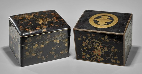 Two Antique Japanese Black Lacquer Boxes