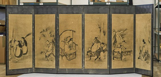 Antique Japanese 6-Panel Paper Screen
