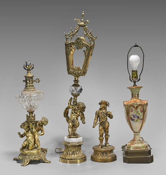 Four Continental-Style Figures & Vases