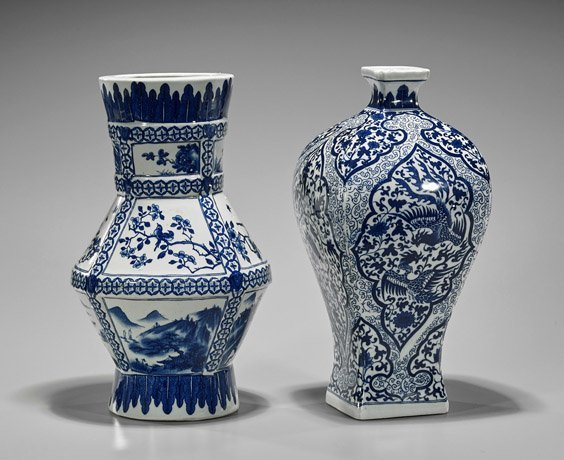 Two Qianlong-Style Blue & White Vases