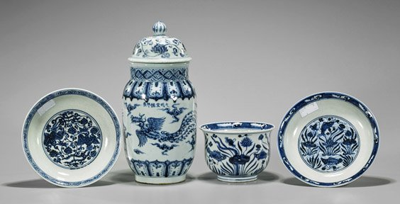 Four Xuande-Style Blue & White Porcelains