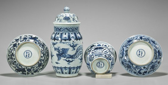 Four Xuande-Style Blue & White Porcelains - 3