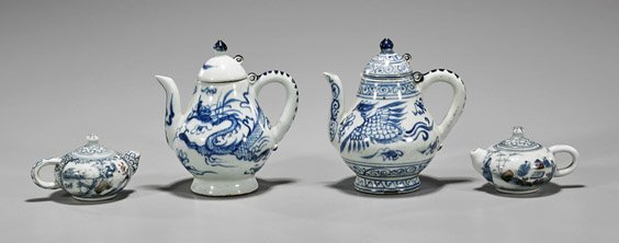 Four Small Chinese Blue & White Teapots