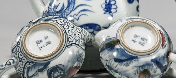 Four Small Chinese Blue & White Teapots - 2