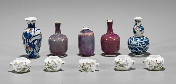 Ten Miniature Chinese Porcelains: Vases & Feeders
