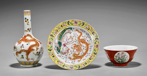 Three Chinese Enameled Porcelains: Dragons & Flowers
