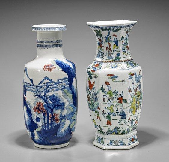 Two Tall Kangxi-Style Porcelain Vases