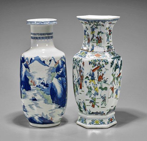 Two Tall Kangxi-Style Porcelain Vases - 2