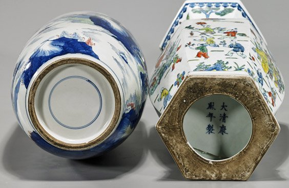 Two Tall Kangxi-Style Porcelain Vases - 3
