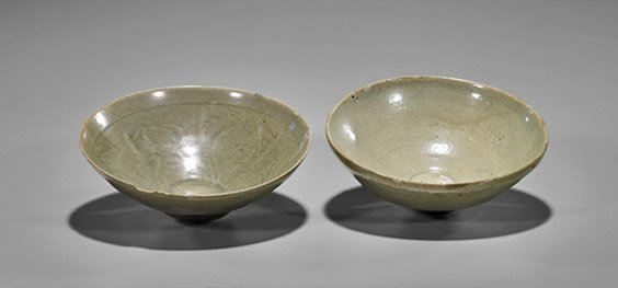 Two Koryo Dynasty Celadon Glazed Bowls