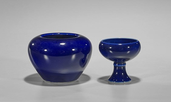 Two Chinese Wanli-Style Blue Monochrome Porcelains