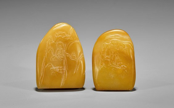 Two Carved Butterscotch Shoushan Stone Seals