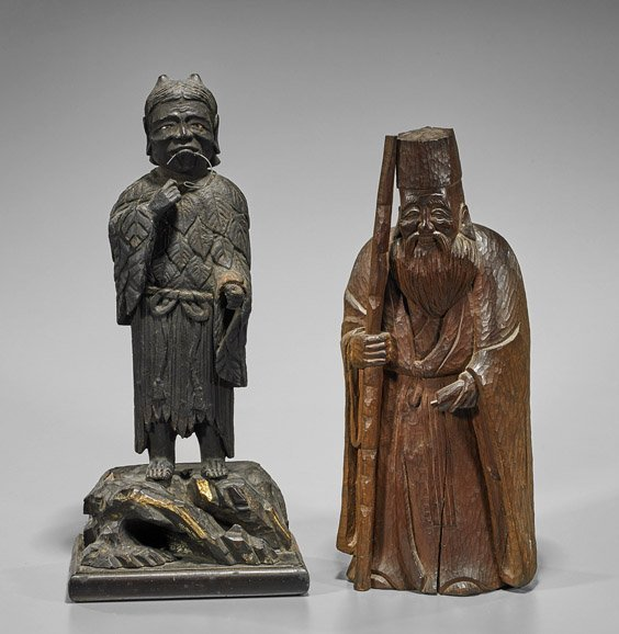 Two Antique Japanese Carved Wood Figures
