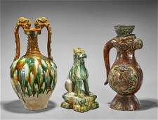 Three Tang-Style Sancai Glazed Pottery Pieces