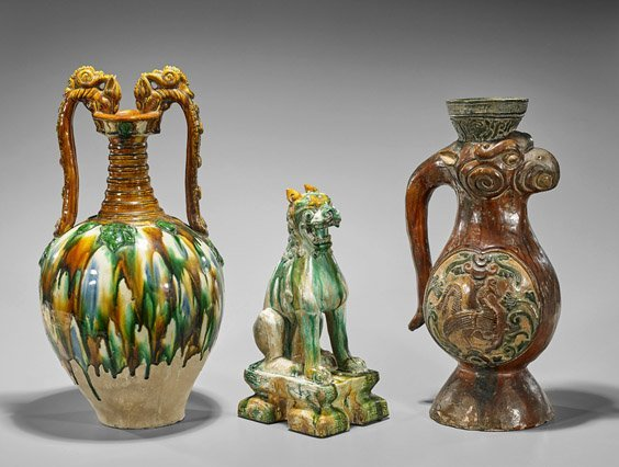 Three Tang-Style Sancai Glazed Pottery Pieces