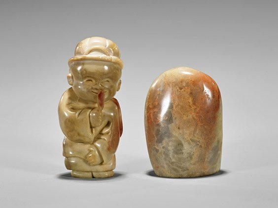 Two Chinese Shoushan Stones: Pebble & Figure