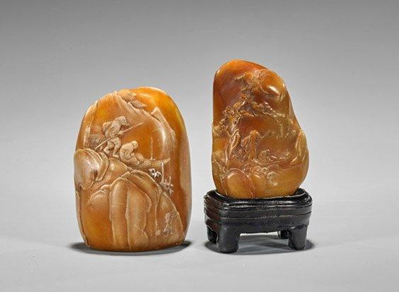 Two Chinese Shoushan Stone Pebbles: Fishermen