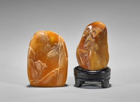 Two Chinese Shoushan Stone Pebbles: Fishermen - 2