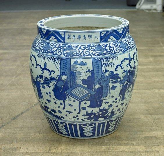 Massive Blue & White Porcelain Jardinière