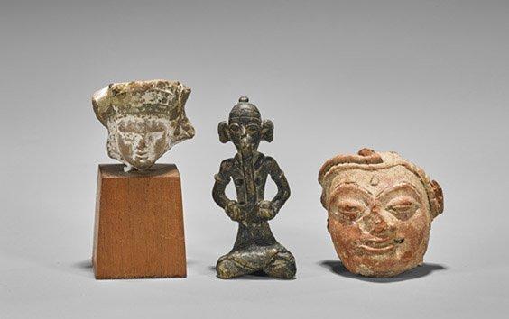 Three Antique Asian Figurines: Bronze & Pottery