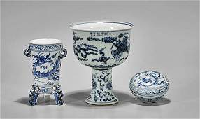 Three MingStyle Blue  White Porcelains