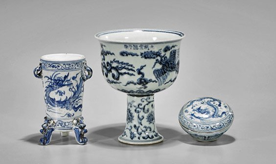 Three Ming-Style Blue & White Porcelains