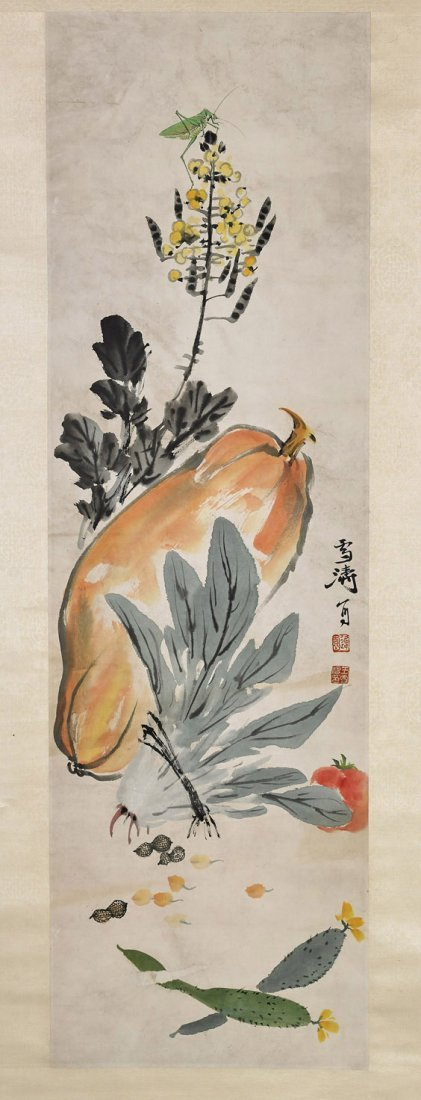 Two Chinese Paper Scrolls: Flower & Vegetables - 4