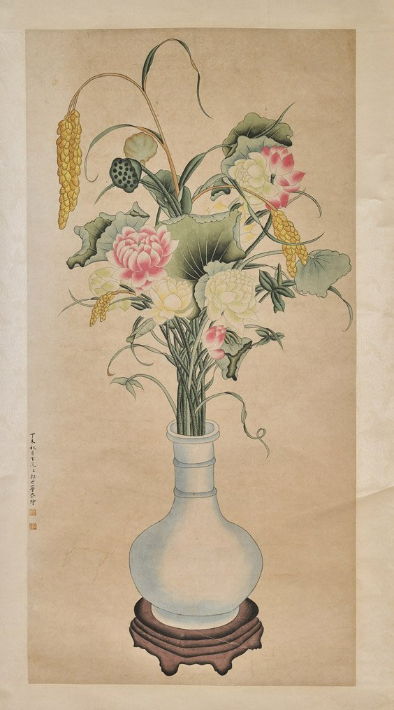Two Chinese Paper Scrolls: Flowers & Beauty