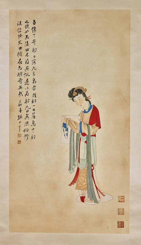 Two Chinese Paper Scrolls: Flowers & Beauty - 3