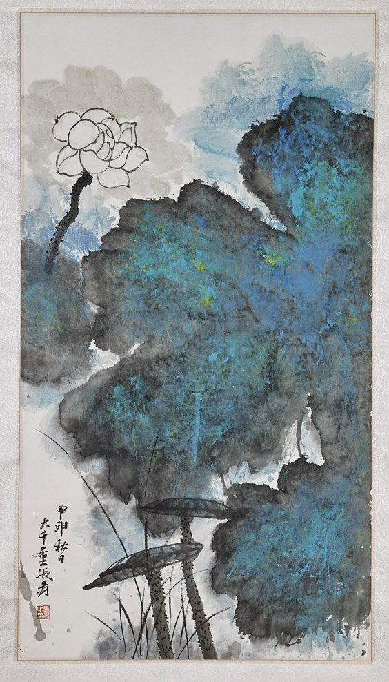 Two Chinese Paper Scrolls: Flowers
