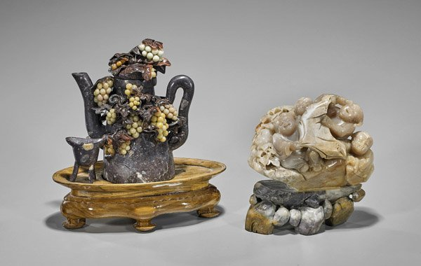 Two Chinese Carved Soapstones: Teapot & Boys