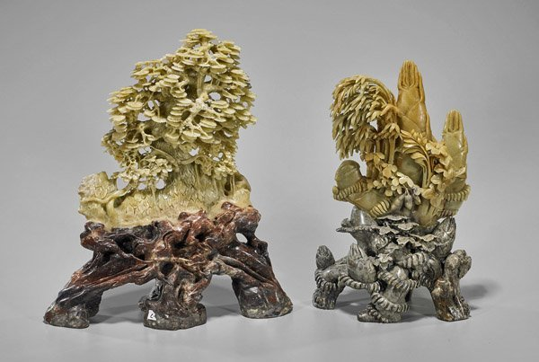 Two Chinese Carved Soapstone Groups: Pine & Mountains