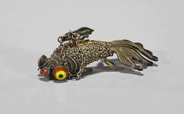 Antique Chinese Enameled Silver Goldfish