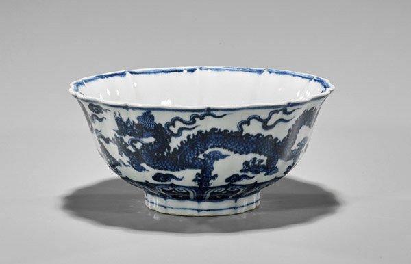 Xuande-Style Blue & White Scalloped Dragon Bowl