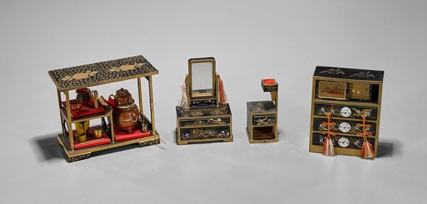 Four Japanese Lacquer Doll House Items