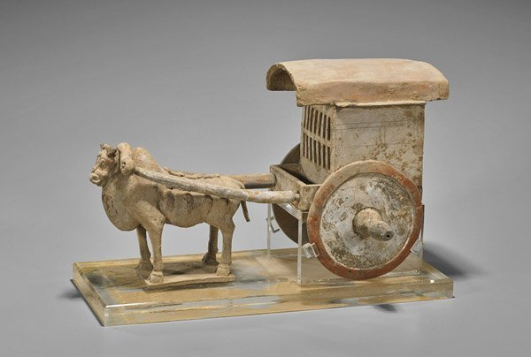 Tang Dynasty Pottery Ox & Carriage